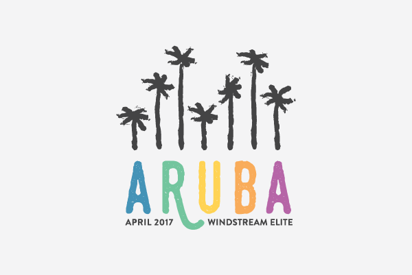 Aruba beach palm tree logo