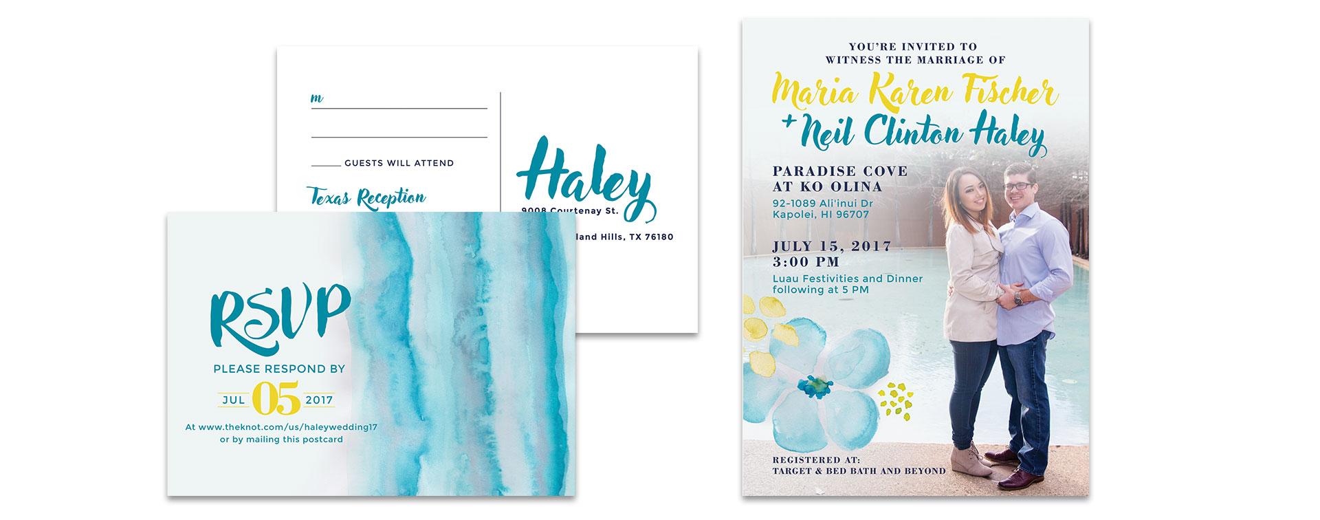 Hawaiian Wedding Invitation Design