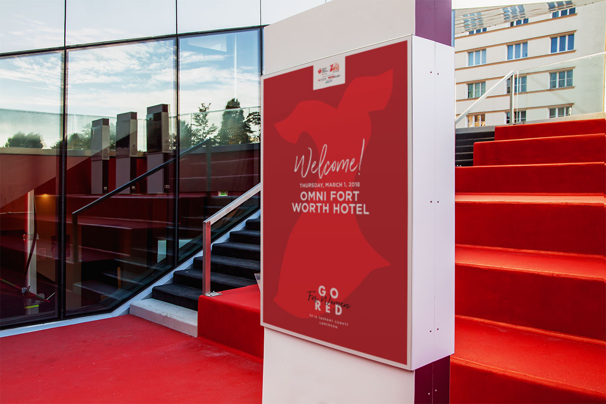 Go Red Welcome signage design